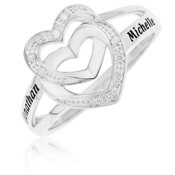 DIAMOND PROMISE RING WITH DOUBLE HEART - STERLING SILVER