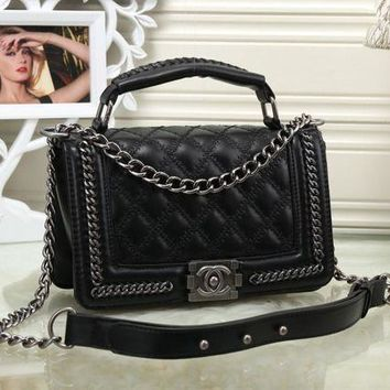 ONETOW Chanel' Women Personality Fashion Quilted Metal Chain Single Shoulder Messenger Bag Small Square Bag Handbag