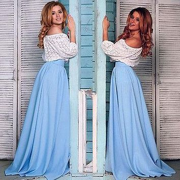 Summer Women High Waist Pleated Zipper Sundress Beach Light blue Party Maxi Long Skirt