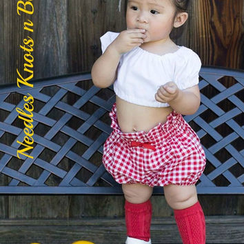 Girls White Crop Top with Red Gingham Bloomers, Girls Boho Style 2 piece Outfit, Baby Girls, Toddlers, Girls Clothes