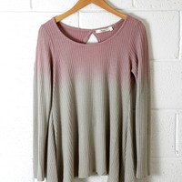 Ombre Exposed Back Waffle Knit Top, Mauve/Sage