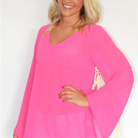 Bell Fringe Sleeve Blouse in Pink
