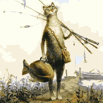 Diy oil painting by numbers canvas  fishing cat picture coloring paint acrylic painting by number wall decor animals