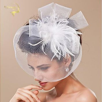Velos de Novia  Wedding Accessories Birdcage Bridal Hats Artificial Flowers White Black Feather Schleier Fast Face Veils BC009