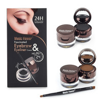 Hot 4 In 1 Brown + Black Gel Eyeliner Eyebrow Powder Makeup Set Kit Waterproof Long Lasting Eye Liner Eye Brow Make Up Cosmetics