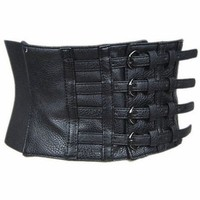 Sexy Womens Black Faux Leather Pin up Wide Waist Belt Corset
