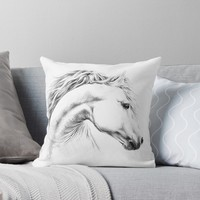 'Horse pencil drawing' Throw Pillow by edrawings38