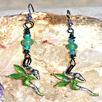 Sparkle Tinkerbell Earrings, CIJ, Green Aventurine, Chakra Jewelry ,Direct Checkout, Woodland Fantasy