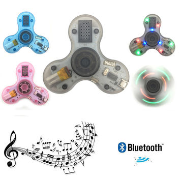 Transparent Luminous Hand Spinner Bluetooth Speakers With LED Portable Fidget Finger Spinner Decompression Toy For Autism #E