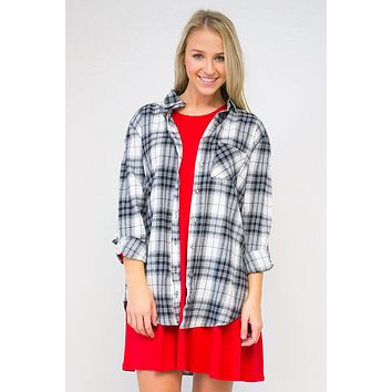 Oversized Hi-Low Pocket Plaid Shirt