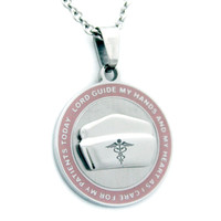 Nurse's Prayer Necklace With Pink Border Stainless Steel Necklace