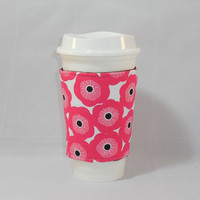 Slide On Coffee Cozy Made With Pink Flower Fabric For Coffee Lover Gift