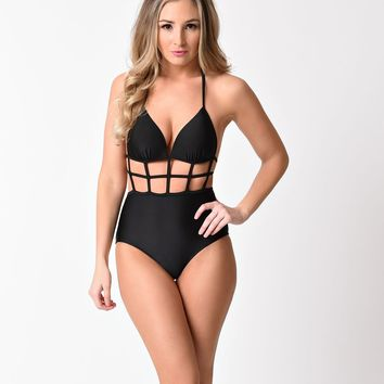 Black Sexy Halter Cutout One Piece Swimsuit