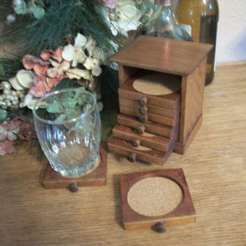 Vintage Barware Entertaining Tableware Coasters in Stacking Caddy Wood and Cork Trivets 1970's Home Bar Traditional Decor