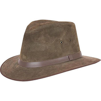 Wilsons Leather Mens Sueded Leather Safari Hat M Olive