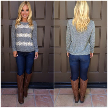 Out Cold Lace Detailed Sweater - GREY