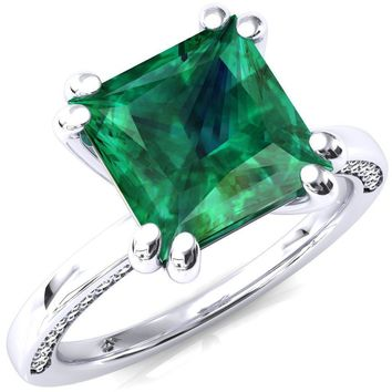 Ain Princess Emerald 4 Double Prong Single Rail Diamond Accent Engagement Ring
