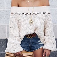 Beige Off Shoulder Puff Sleeve Chic Women Knit Sweater