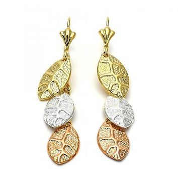 Gold Layered 084.010 Chandelier Earring, Leaf Design, Diamond Cutting Finish, Tri Tone