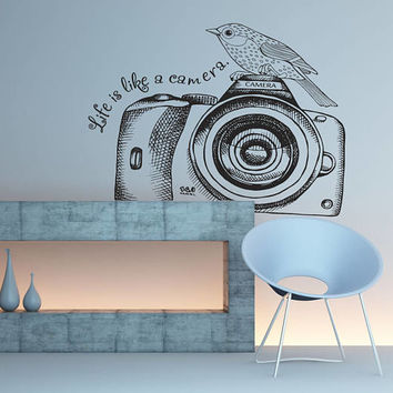 Photo Camera Wall Decal, Photography Wall Sticker, Photo Camera Photo Studio Wall Decor, Photography Decal, Home Interior Wall Art se130