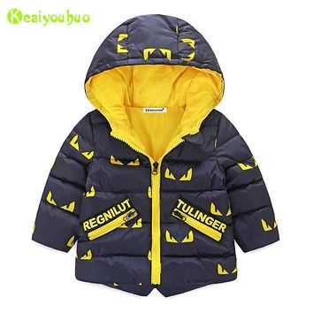 KEAIYOUHUO Children Little Monsters Jackets 2017 Autumn Winter Jacket For Boys Jacket Kids Warm Outerwear Coat Baby Boys Clothes