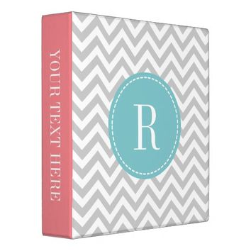 Coral pink teal gray chevron pattern 3 ring binder