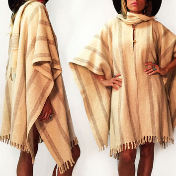 Vintage 1970's Oatmeal Cream Wool Fringed Blanket Boho Cape With Scarf || Striped Poncho Wrap || One Size Fits All S M L XL