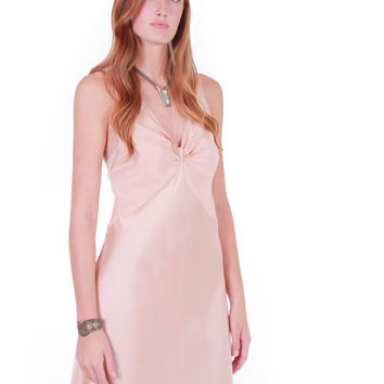 90s Vintage Valentino Intimo Silk Maxi Dress Pale Peach Pink Nude Bias Slip Nightgown Minimalist Chic Clothing Womens Size Small Medium