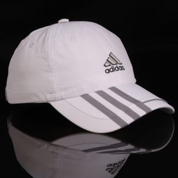 The New Adidas Embroidered Stripes In White & Gray Baseball Golf Cap