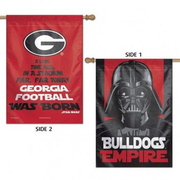 DCCKG8Q NCAA Georgia Bulldogs Star Wars Two Sided Vertical Flag