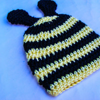 Baby Bee Crochet Hat 0-3 Month Halloween Costume Summer Inspired Hat Back to School Themed Antennae Striped Beanie Newborn Photo Prop
