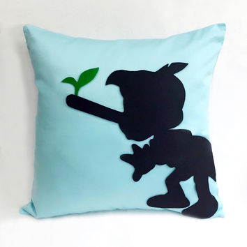 Pick Your Color. Pinocchio Light Blue Decorative Pillow Cover Pillow Case. Boys Room Decor Nursery Decor. Children Room Pillow