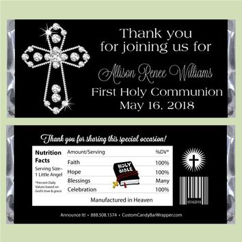 Diamond Cross First Communion Candy Bar Wrappers