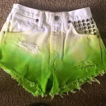 LIME GREEN High Waisted Shorts with Studs SIZE 1
