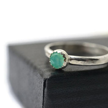 4mm Blue Opal Ring, Peruvian Opal, Simple Engagement Ring, Natural Gemstone Silver Ring