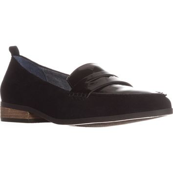 Dr. Scholls Eclipse Flat Penny Loafers, Black Suede, 6 W US