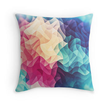 'Geometry Triangle Wave Multicolor Mosaic Pattern - (HDR - Low Poly Art)' Kissen by badbugs