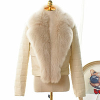 FASHION WOMEN BIG Faux FOX FUR COLLAR COAT SHEEP LEATHER COAT JACKET WOMEN AUTUMN JACKET WINTER CLOTHING 5 COLORS T0416