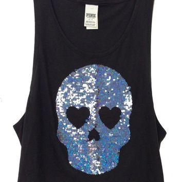 New Victorias Secret PINK Bling Sequin Black Skull Muscle Shirt Tank Top XS LOVE Victoria's Secret x-small by Dani Nicholle