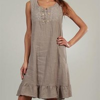 Lin Nature Lace Embellished 100% Linen Dress Made in Italy - Summer Clearance: Dresses - Modnique.com