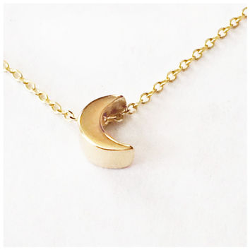 Moon Necklace - solid gold