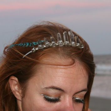 Smokey Gypsy Crown, raw smokey quartz crystal crown, quartz tiara, raw crystal crown, smokey quartz headpiece, mermaid crown