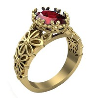Ruby ring Milgrain Ring Art Nouveau unique Engagement ring  Flower ring Solid Gold Ruby ring  14K or 18K white Yellow or Rose gold