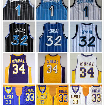 Top Quality 1 Penny Hardaway Jersey 32 Shaquille O'Neal Shaq Uniform 34 Shaquille O Neal College Basketball Jersey Black White Blue