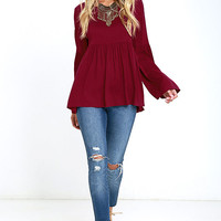 Remember Me Wine Red Long Sleeve Top