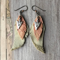 Rose gold, leather feather earrings, with boho arrowhead charm, hypoallergenic ear wire, Native American Style, by MeyerClarkCreative