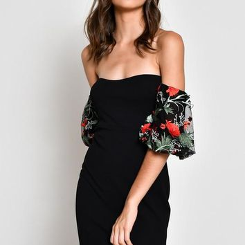Arianna Black Lace Red Rose Dress