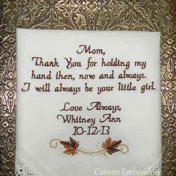 Fall Wedding Gift Embroidered Wedding Handkerchief - Etsy by Canyon Embroidery
