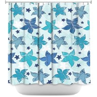 Shower Curtains By Julia Grifol Sea Flowers Blue