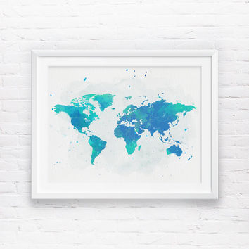 World map Wall Art, Printable World Map, Wanderlust, Navy Blue Mint Watercolor World Map, Nursery World Map, Boys Nursery Printable Wall Art